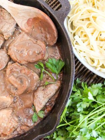 Skillet Pork Tenderloin Marsala with herbs and pasta