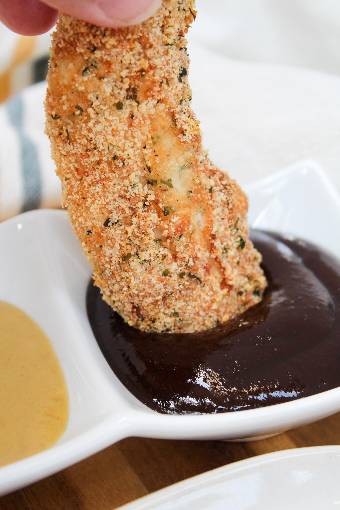 chicken tender with bbq sauce