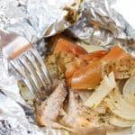 cut pork chop in foil packet