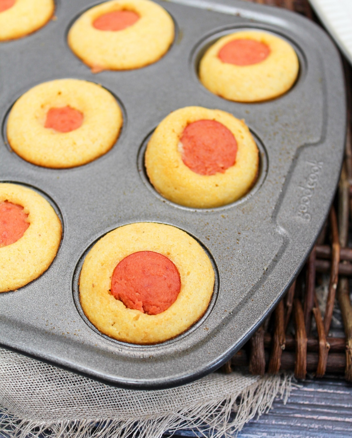 corn dog muffin cooked in pan