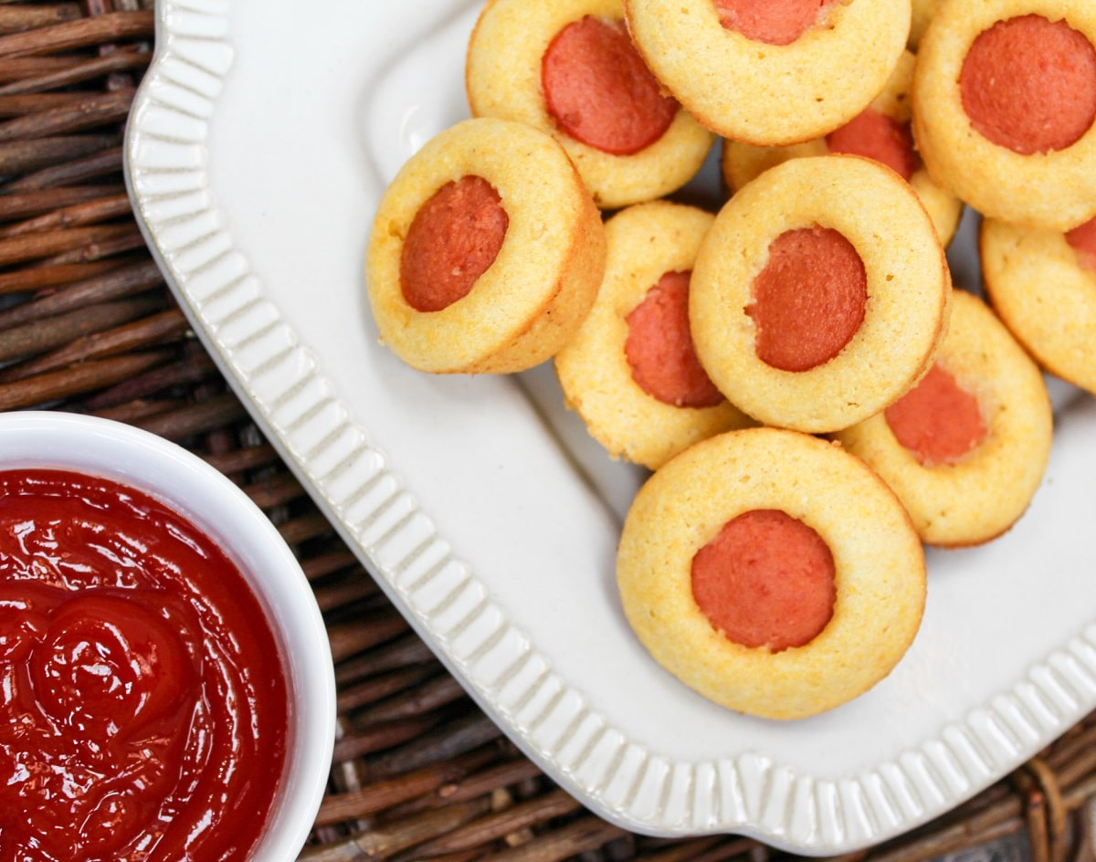 corn dog muffin with ketchup on the side