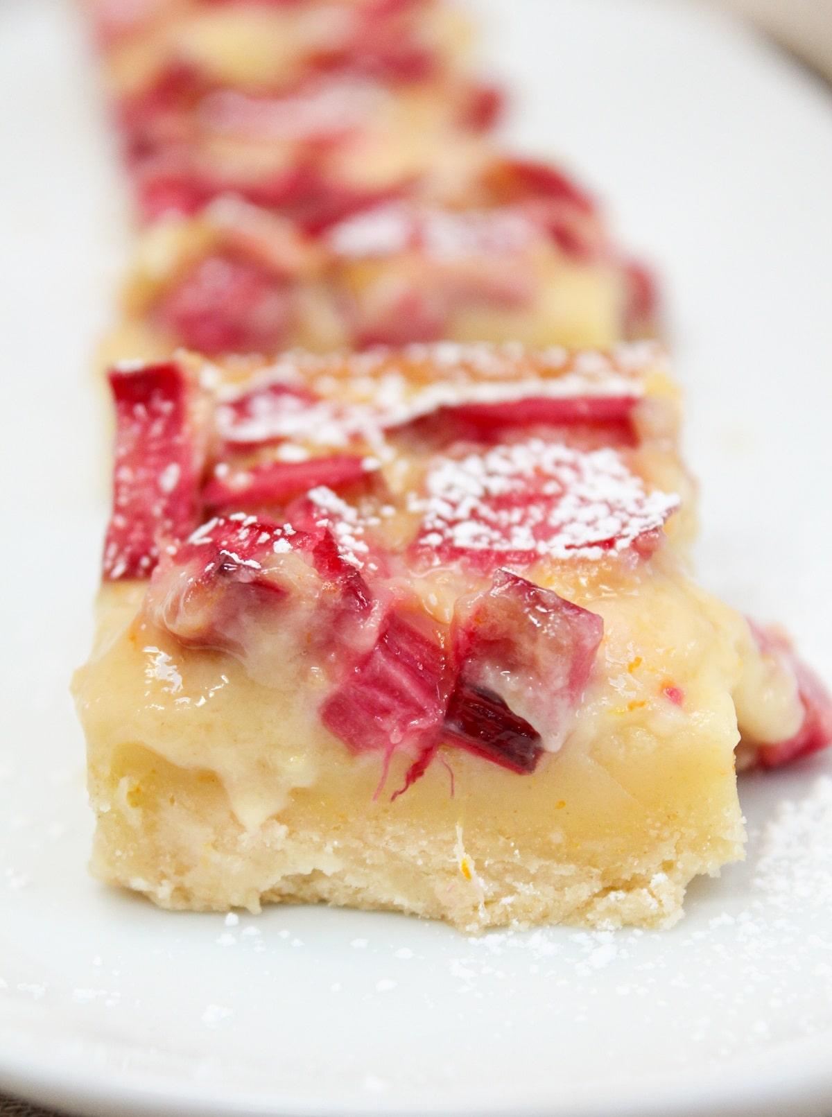citrus rhubarb custard bars sliced and plated